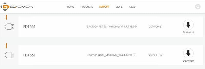 Drivers Gaomon PD1561 controladores